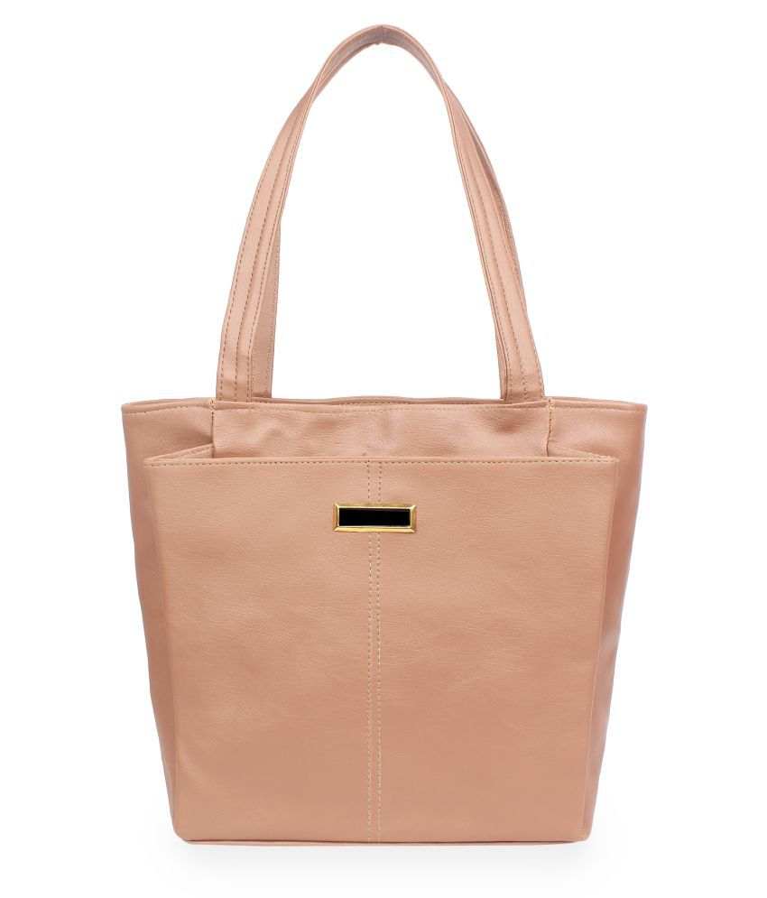 Vunik Beige Faux Leather Tote Bag