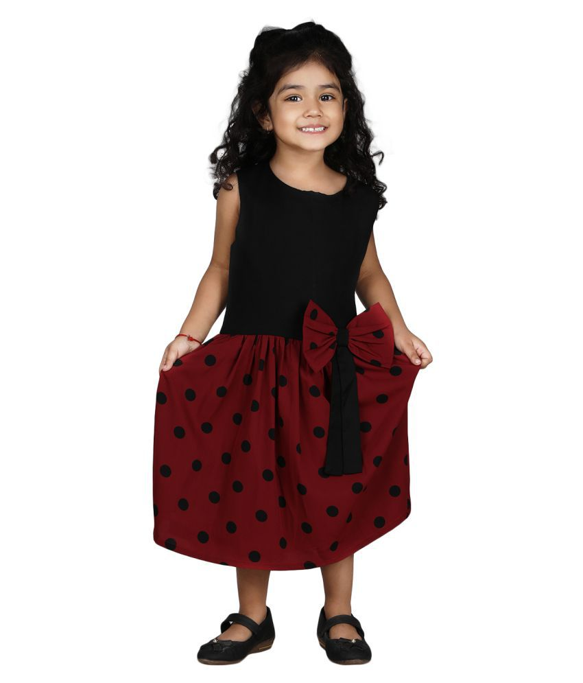 D Leela's Girls Black and Maroon Polka Dott Fit and Flare Casual Dress|Age 3 - 4 Years|4 - 5 Years|5 - 6 Years|6 - 7 Years|7 - 8 Years|8 - 9 Years