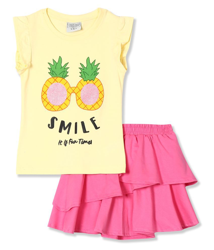 Girls Printed Top And Skirt Set
