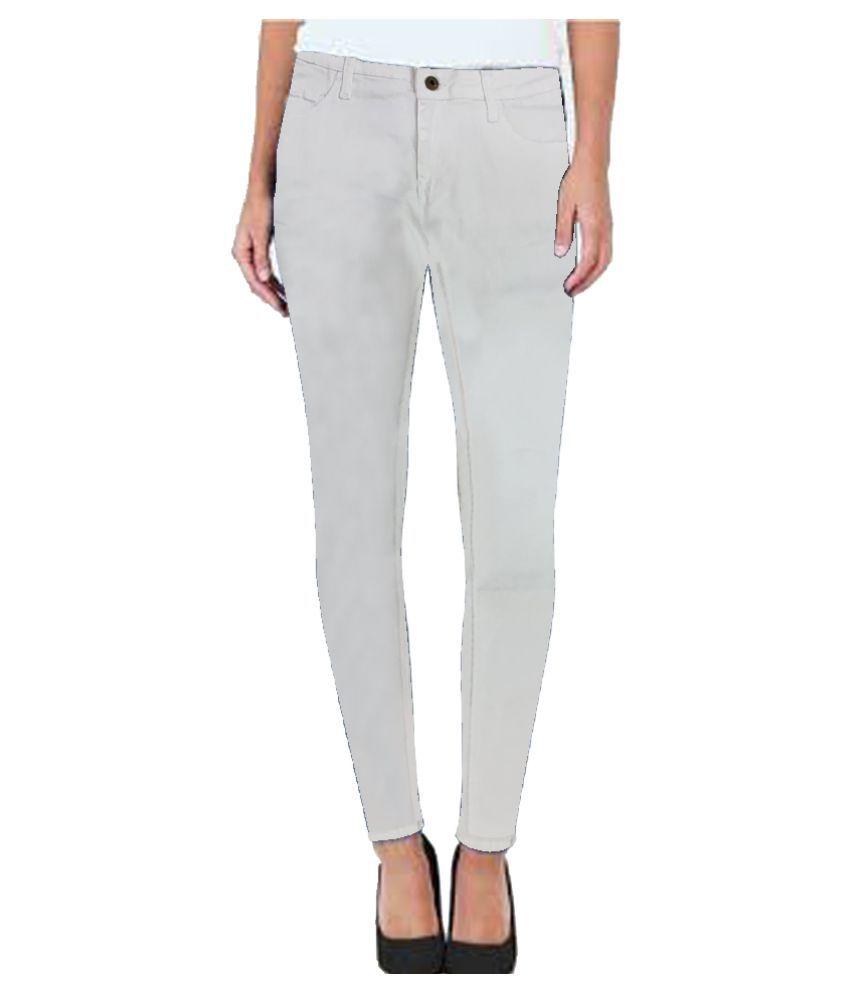 Josh Button Denim Lycra Jeans - White
