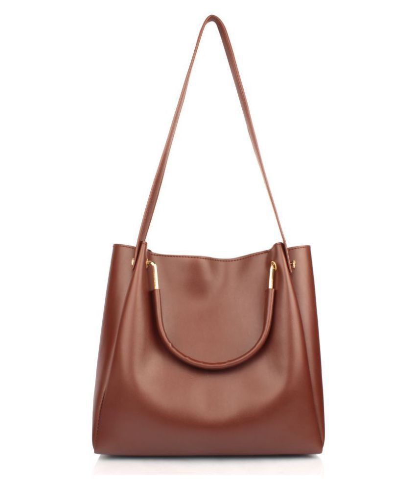 Mammon Tan P.U. Shoulder Bag