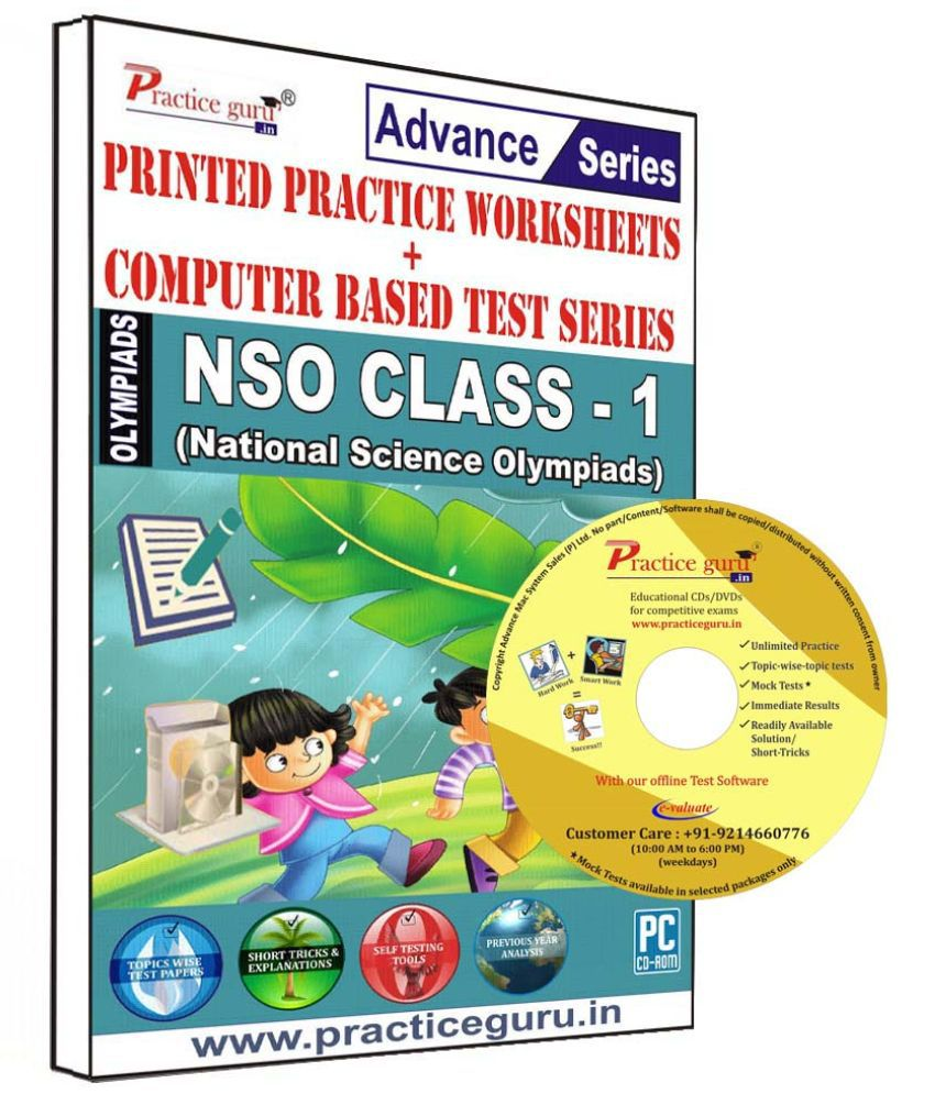 Practice Guru 35 Test 10 Mock Test,10 Previous Year Paper,10 Worksheet (Printed) for 1 Class NSO Exam  CD