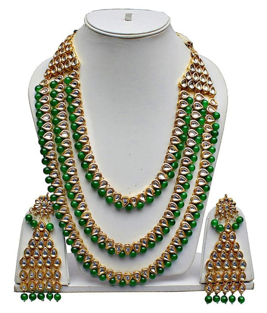 LUCKY JEWELLERY Alloy Green Designer Gold Plated Necklaces Set