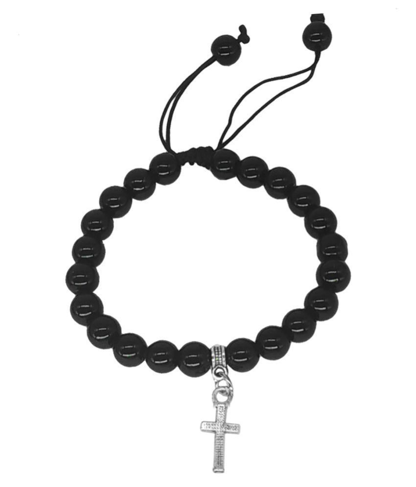 Men Style Christ Cross Charm Onyx Beads Silver Black Crystal Alloy Bracelet