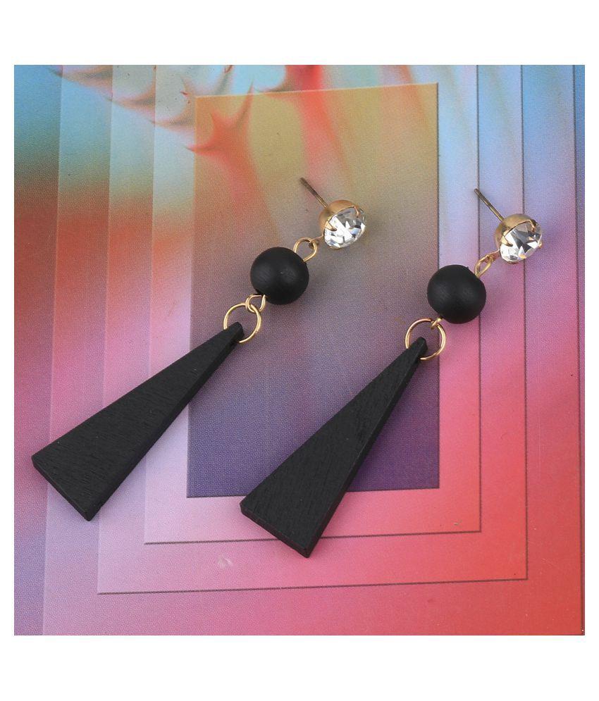 SILVER SHINE Exclusive Diamond Wooden Earrings Long Dangler Light Weight for Girls and Women.