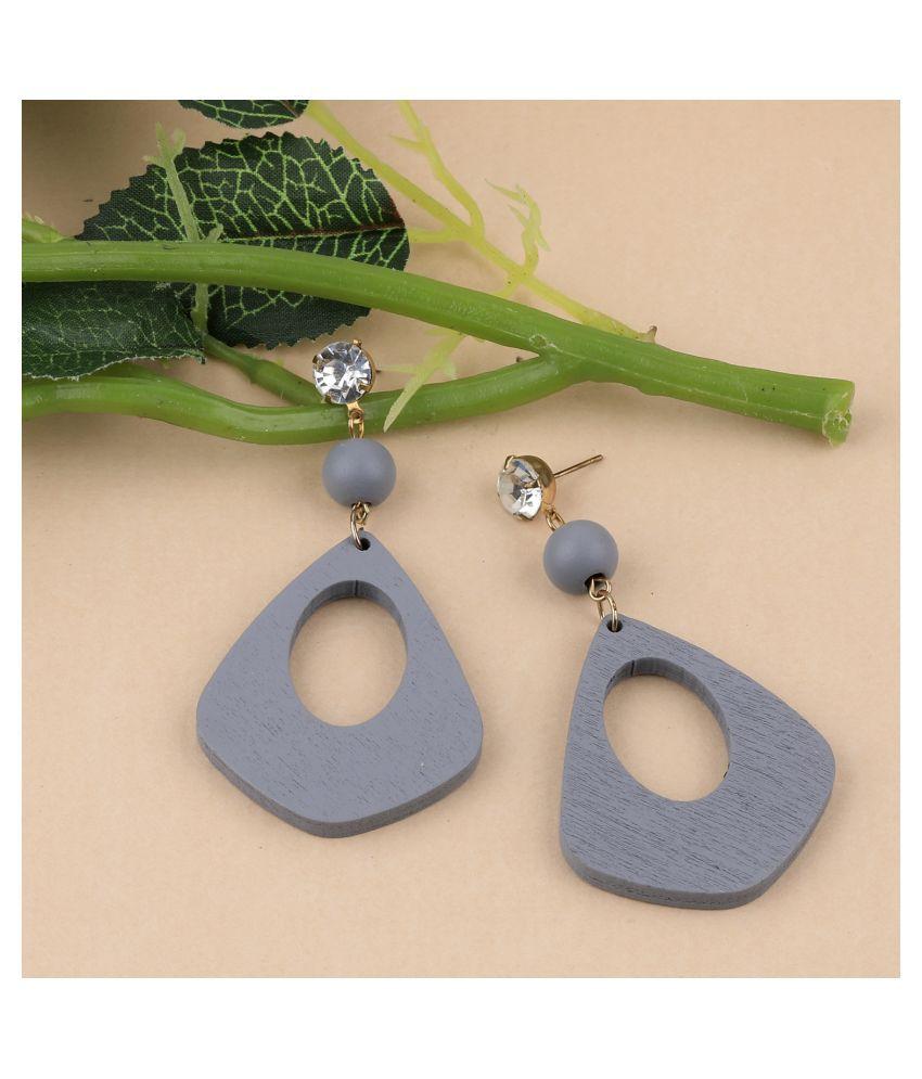 SILVER SHINE Party Wear Dangler Diamond Wooden Earrings For Girls and Women
