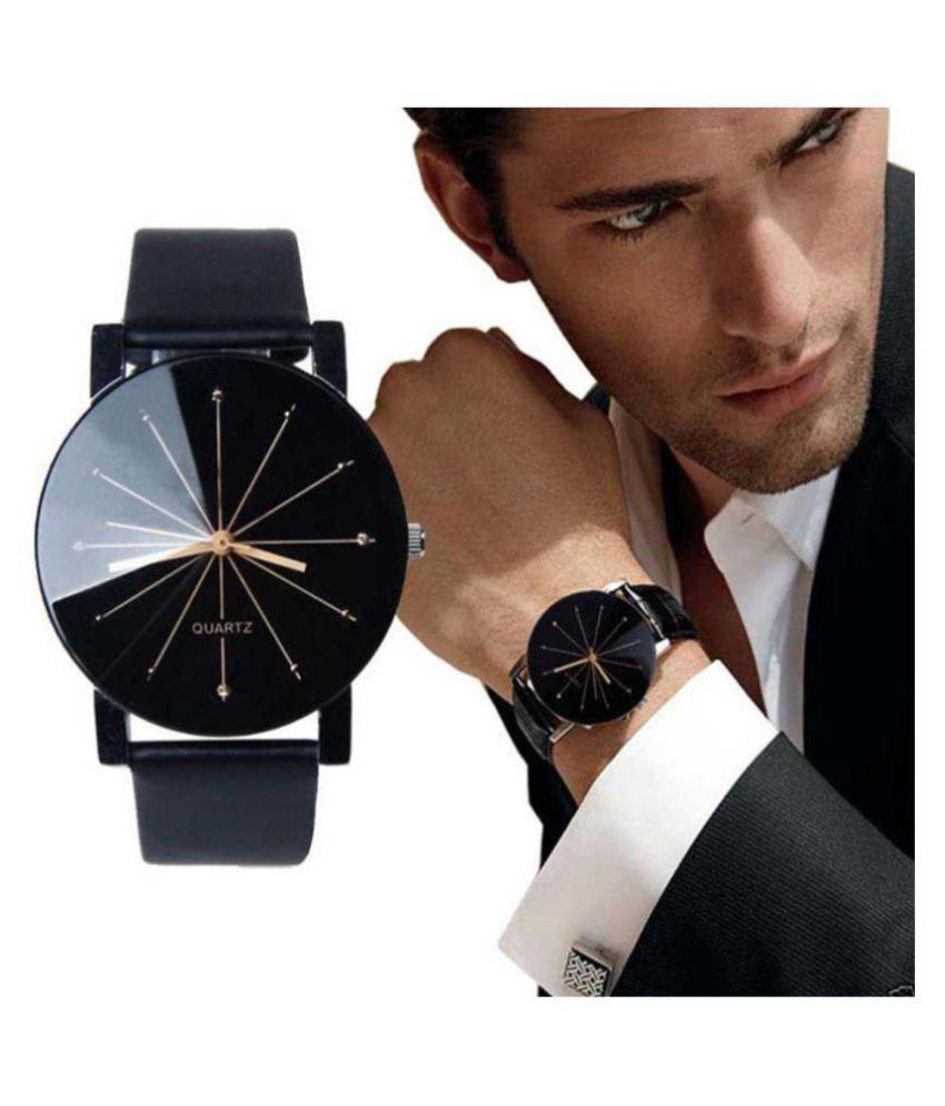 3 KINGS New Look Black Dial Crystal Glass Designer Watch Leather Analog Men's Watch