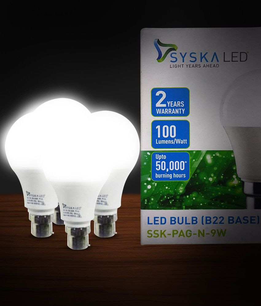 Syska 9W LED Bulbs Cool Day Light   Pack of 4