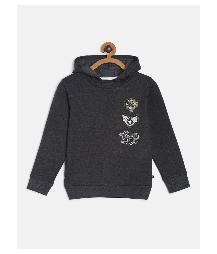 Tales & Stories Boys Grey Cotton Blended Solid Pattern Hooded Sweartshirt