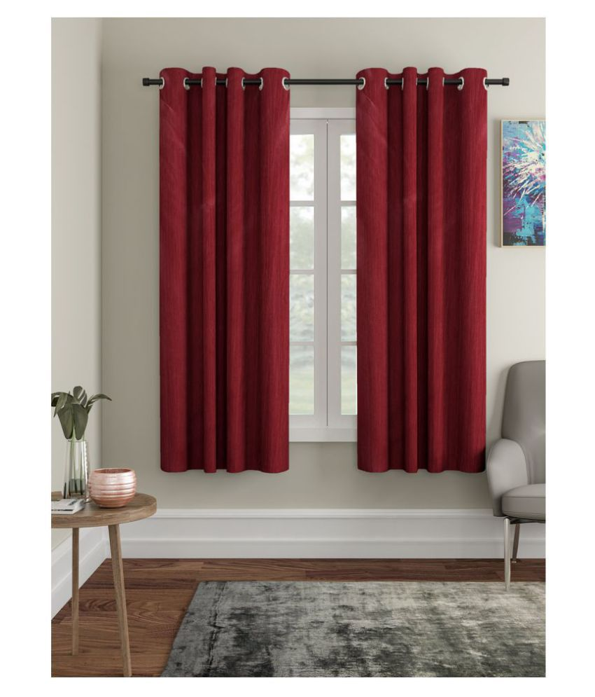 Home Sizzler Set of 2 Window Semi-Transparent Eyelet Polyester Curtains Maroon