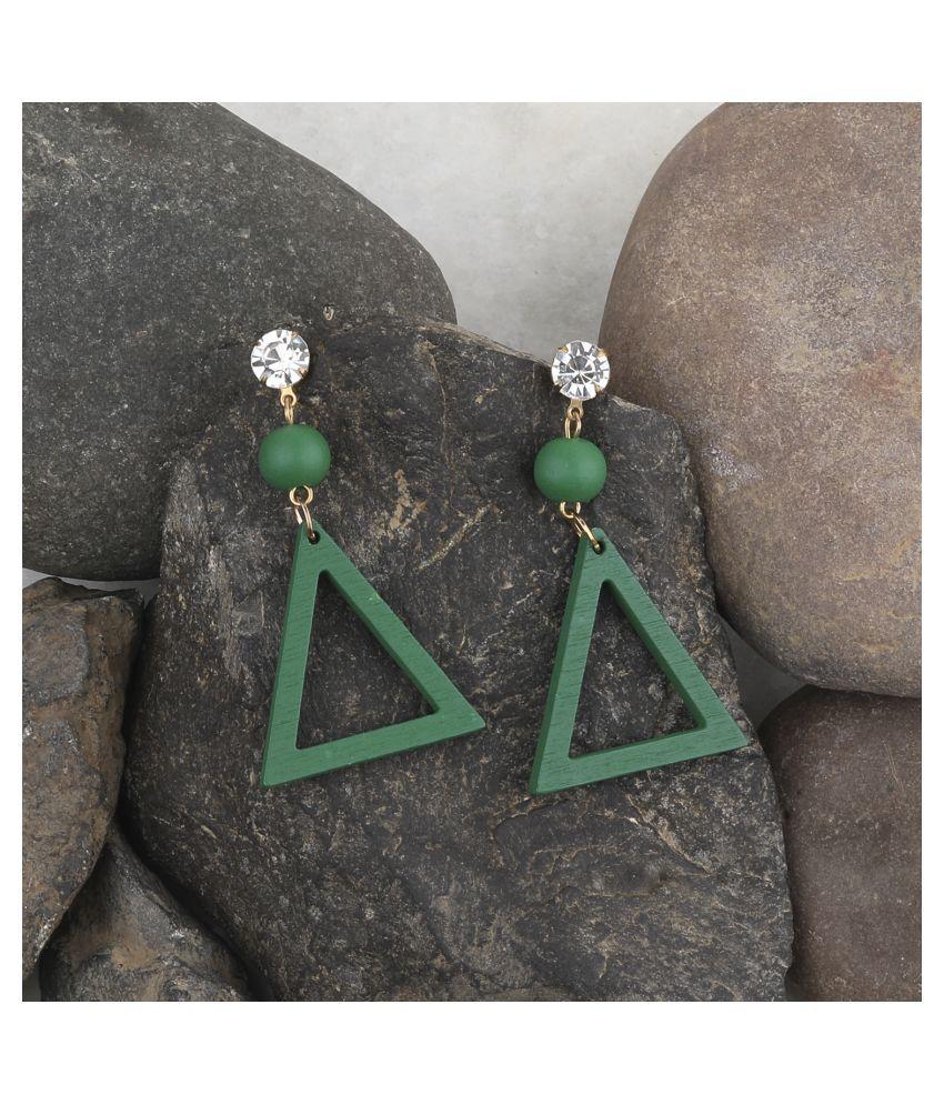 SILVER SHINE Elegant Dangler  Wooden Earrings For Girls and Women