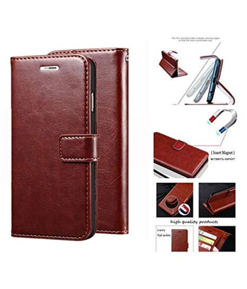 Oppo F3 plus Flip Cover by BeingStylish - Brown Premium Leather Case