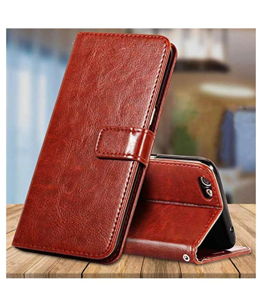 Vivo Y55 Flip Cover by BeingStylish - Brown Premium Leather Case