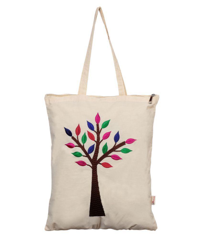 Aakrutii Cream Cotton Tote Bag