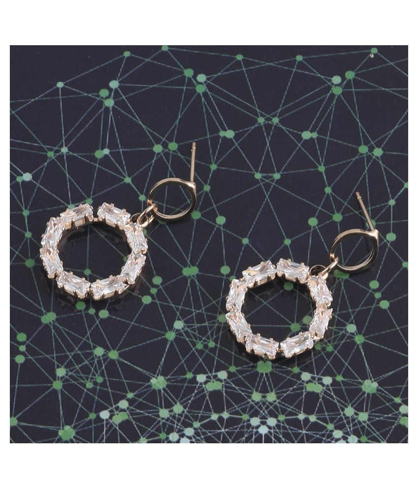 SILVER SHINE Rose Gold Exclusive Diamond Stud Earring For Women Girl
