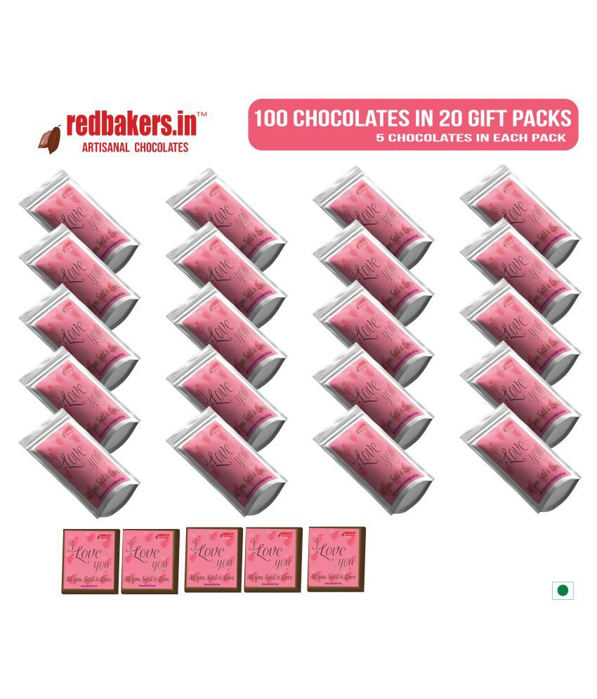 redbakers.in Assorted Box ALLUNEEDISLOVE 100ChocolateGIFTPOUCH 1kg 1 kg Pack of 100