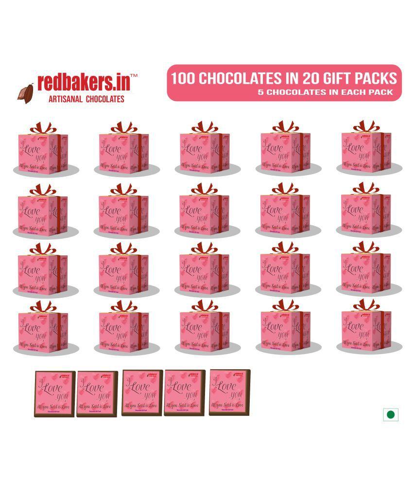 redbakers.in Assorted Box ALLUNEEDISLOVE 100ChocolateGIFTPACKS 1kg 1 kg Pack of 100