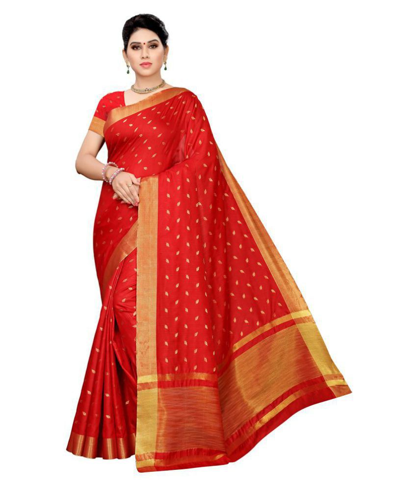 Pisara Red Cotton Silk Saree