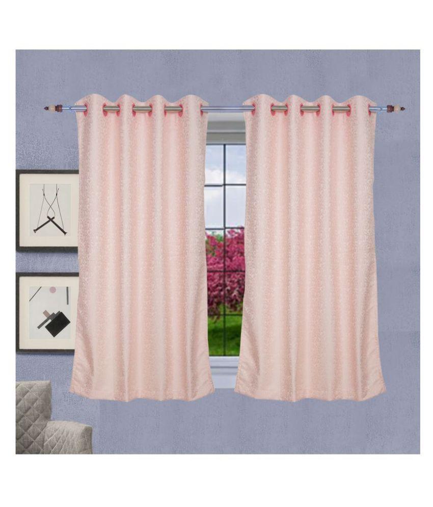 PardaOnline Single Window Semi-Transparent Eyelet Poly Cotton Curtains Pink