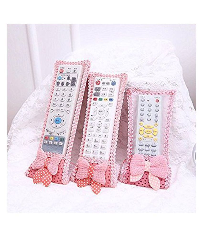 Everbuy Set of 3 Cotton Pink Remote Control Cover