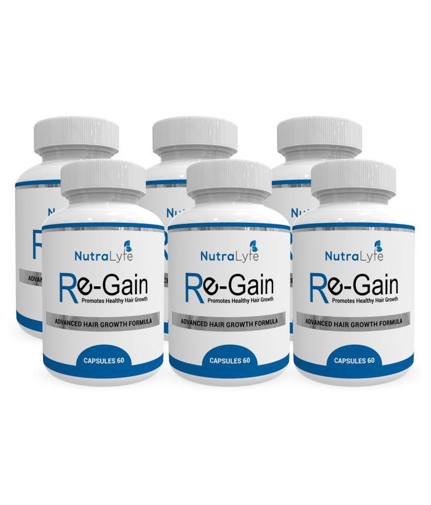 Nutralyfe Hair Regain - All Natural Hair Loss Supplement For Healthy Hair - 360 Veg Capsules(PackOf6)