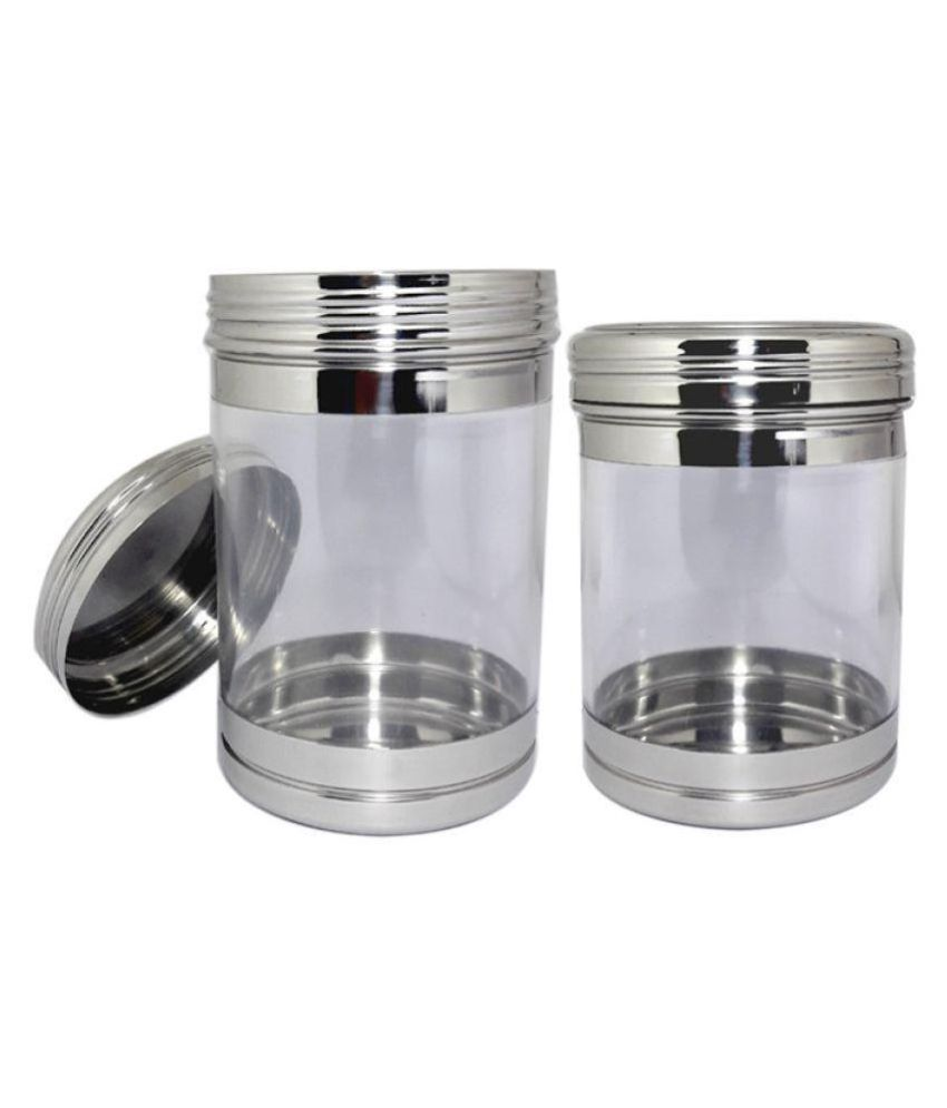 bartan hub container set of 2 Steel Tea/Coffee/Sugar Container Set of 2 1000 mL