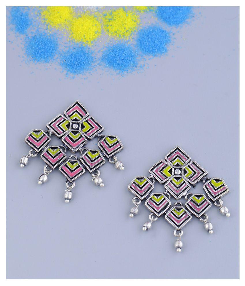 Kolam Art Geometric Design Earrings