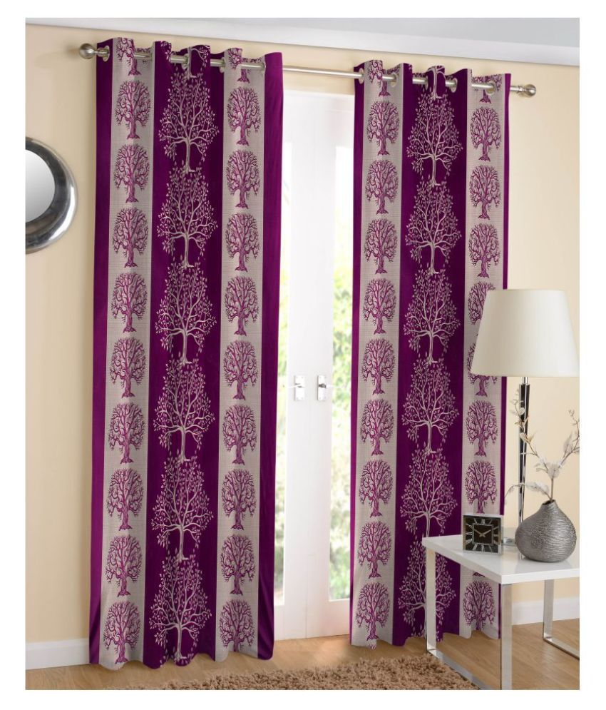 MAHALUXMI COLLECTION Set of 2 Door Semi-Transparent Eyelet Polyester Curtains Wine