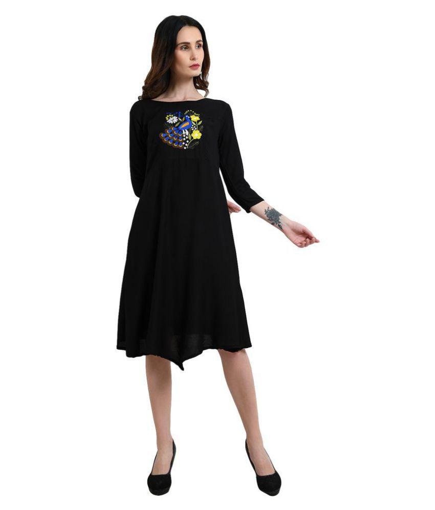 Addyvero Rayon Black Asymmetric dress