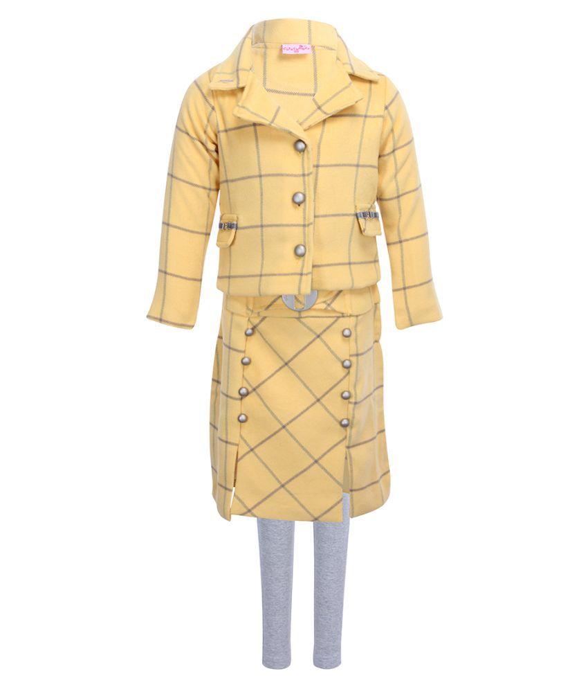 Cutecumber Girls Partywear Coat Fabric Winter Coat with Coat Fabric Skirt & Leggings