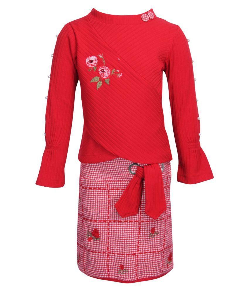 Cutecumber Girls Partywear Sweater Knit Fabric Top with Coat Fabric Skirt