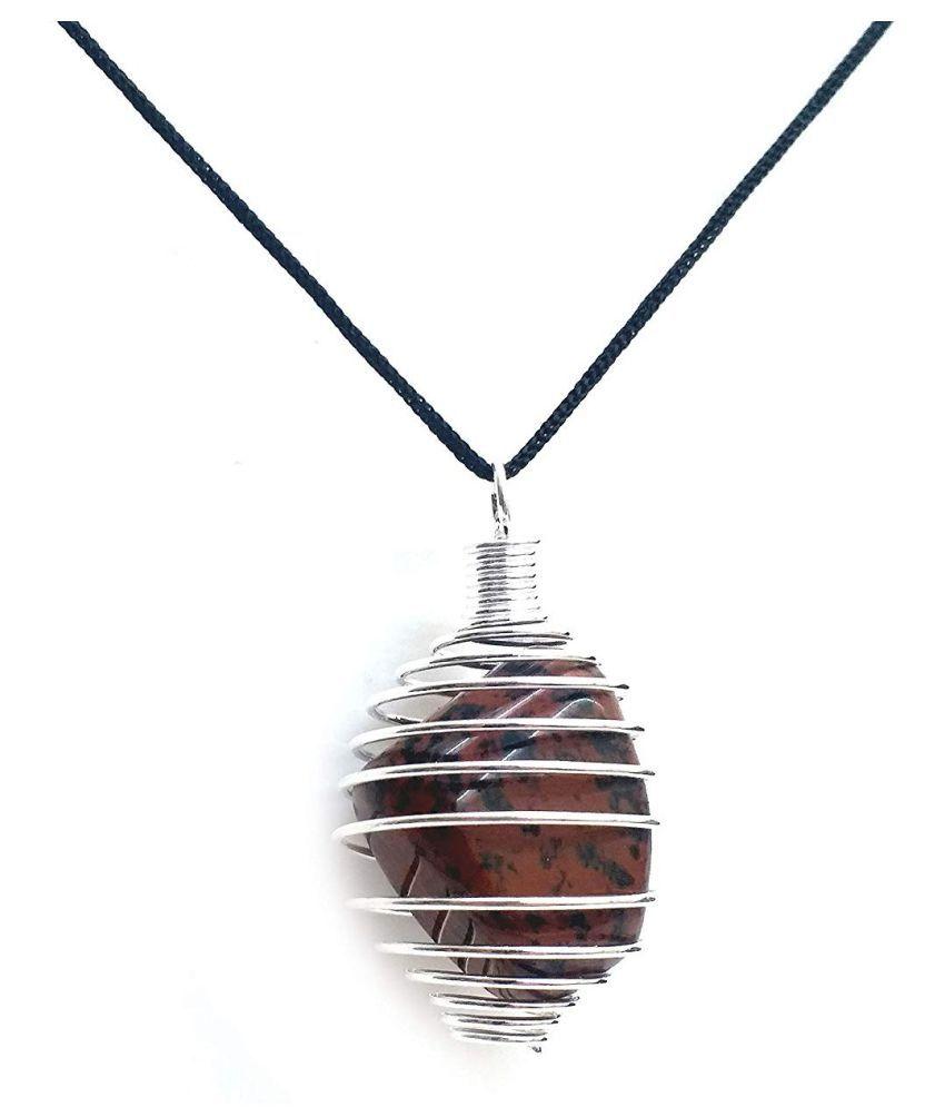 mahagony obsidian tumble cage crystal pendant