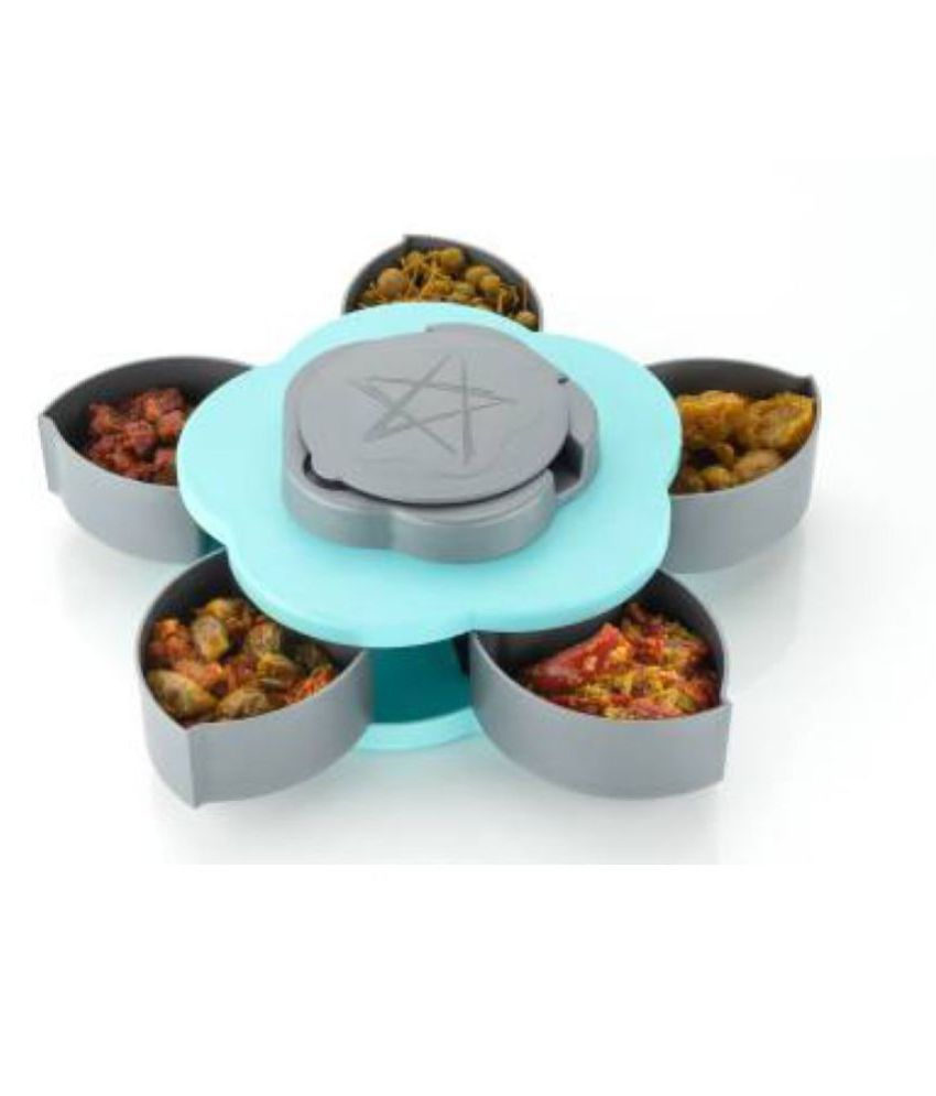 Compartments Smart Candy Box 1 Piece Condiment Set  (Plastic) Light Blue Lunch Box