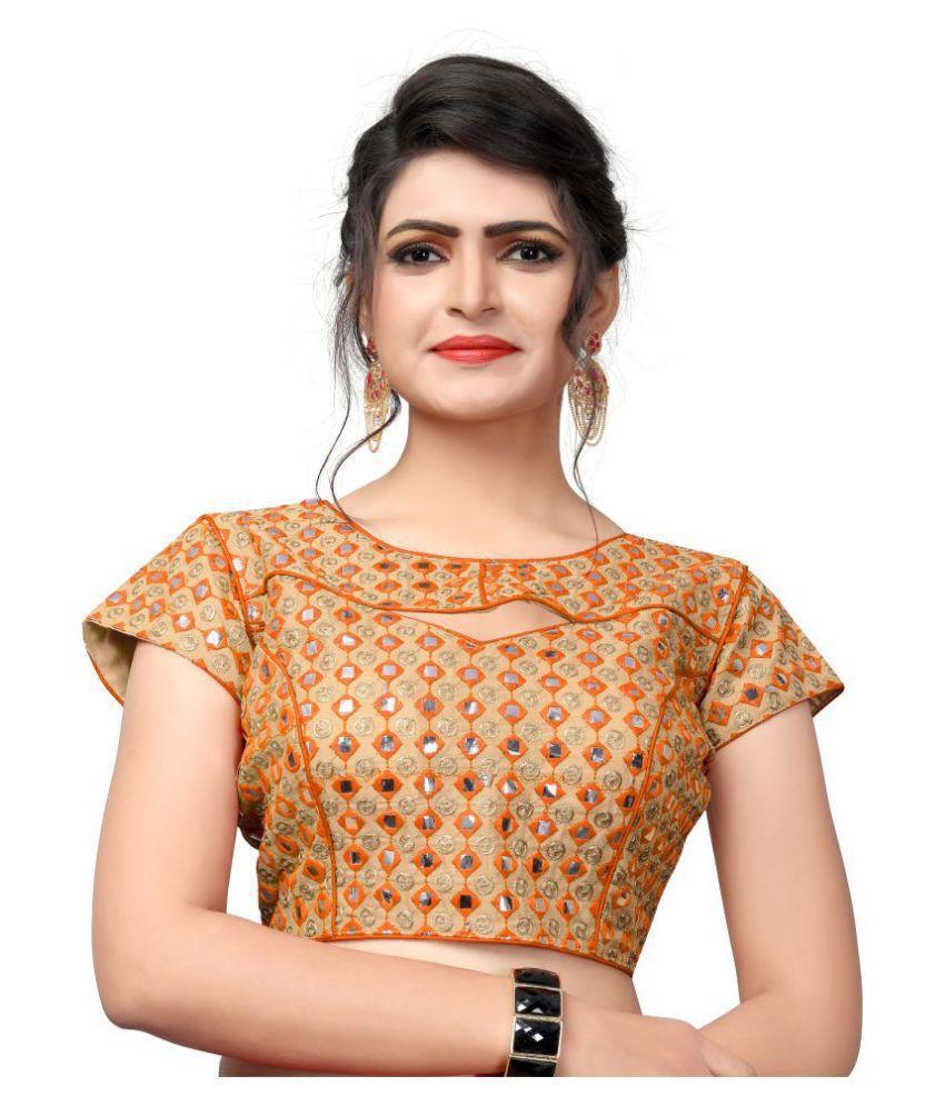 Fab Dadu Orange Silk Readymade with Pad Blouse