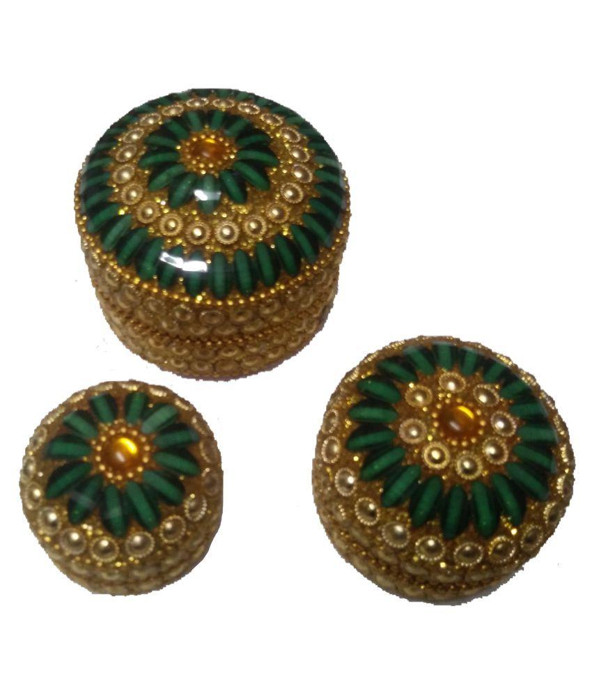 joya creation Alumunium Sindoor Box/Jewellery Box/Ring Box with Meena Work.