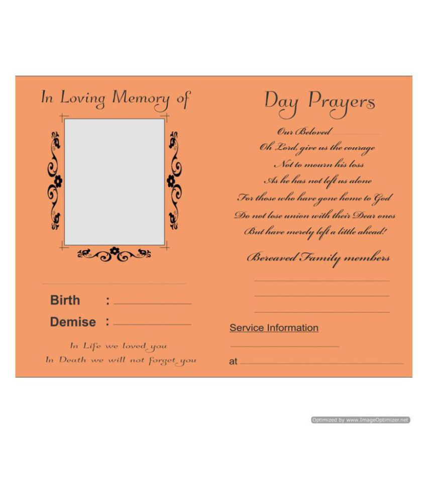 death memorial and anniversary themed 30 invitation cards