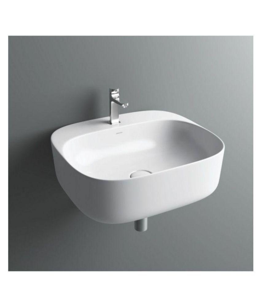 Gcera White Ceramic Wall Hung Wash Basins