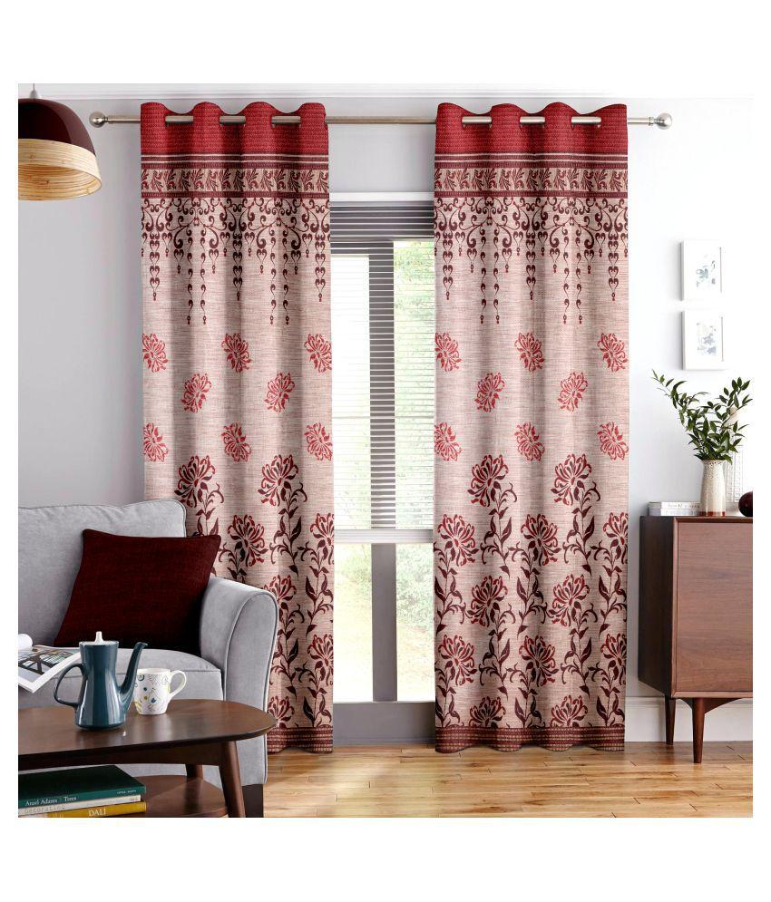 Story@Home Single Window Eyelet Polyester Curtains Orange