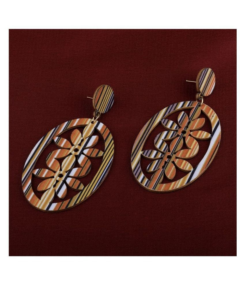 SILVER SHINE Handmade stylish Wooden Light Weight Earrings for Girls and Women.