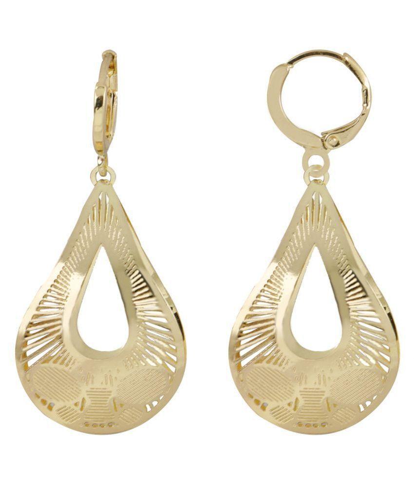 Silver Shine Captivating Golden Drop Shape Clip On Bali Earring for Women