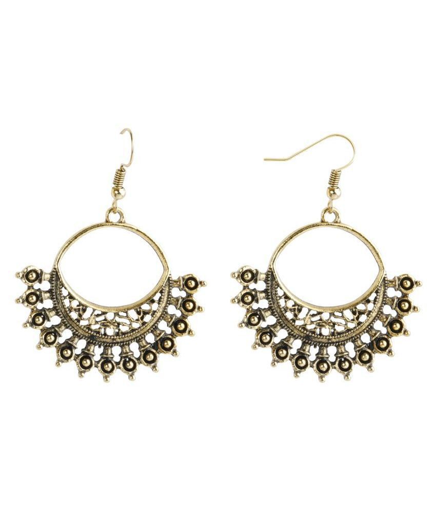 Silver Shine Dashing Golden Warrior Design Chandbali Earrings for Women