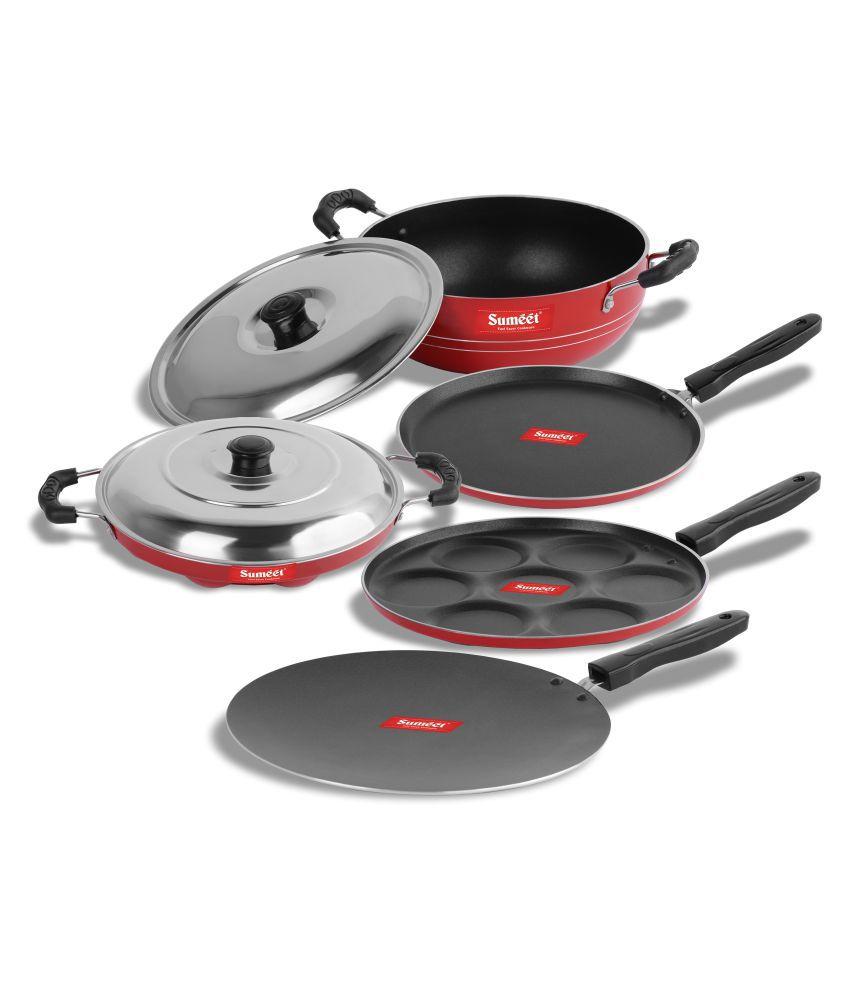 Sumeet Ruby Red Nonstick 7 Piece Cookware Set