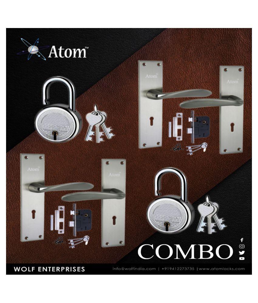 Mortice Handle, Mortice Lock, Door Lock, Lock, Atom AL-56 K.Y S/S with Lezend Double Action Lock,Mortise Lock,Door Lock Combo Pack of 2