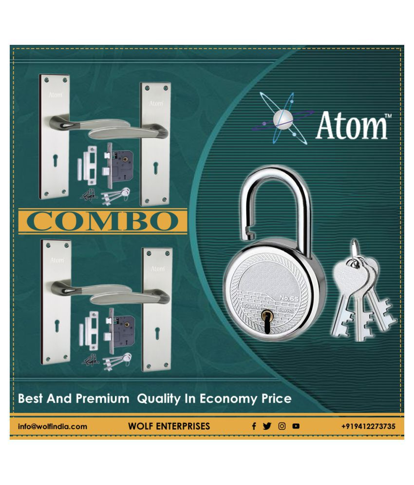 Atom Mortise Door Lock AL-56 K.Y. 8 Inch Mortice Handle Pair in Black Silver  Finish with Legend 65 mm Brass Dead Bolt Double Action 6 Lever Lock. (Pack of 2).