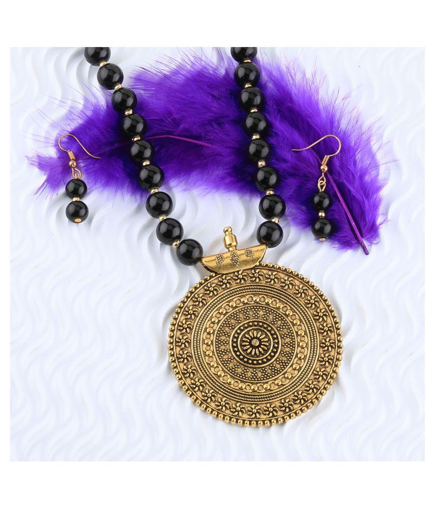 SILVERSHINE Designer Gold Oxidised Traditional Big Pendant Black Pearl mala set for Women girl