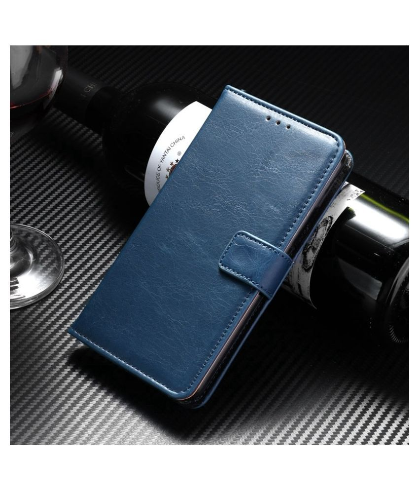 Vivo Y83 Flip Cover by Mobilive - Blue Premium Leather,Inner TPU