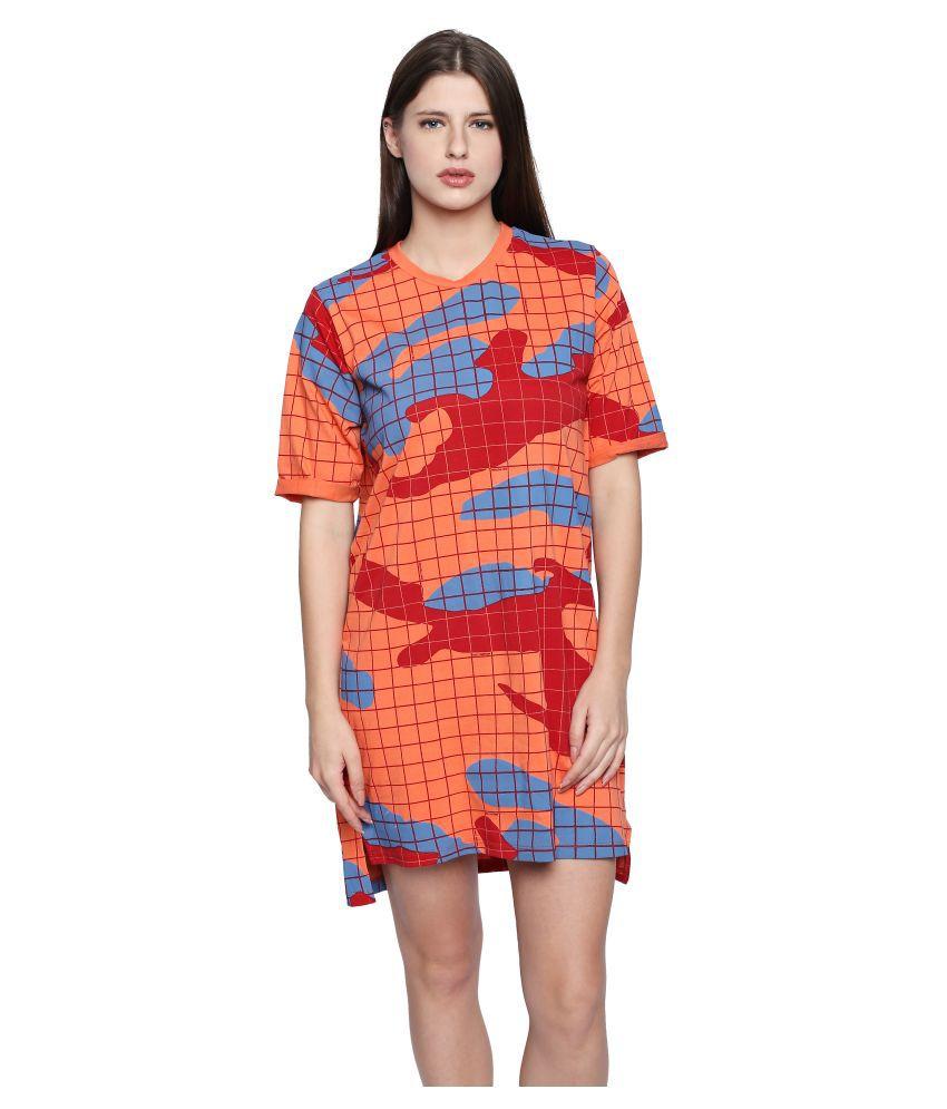 Cult Fiction Cotton Orange Shift Dress