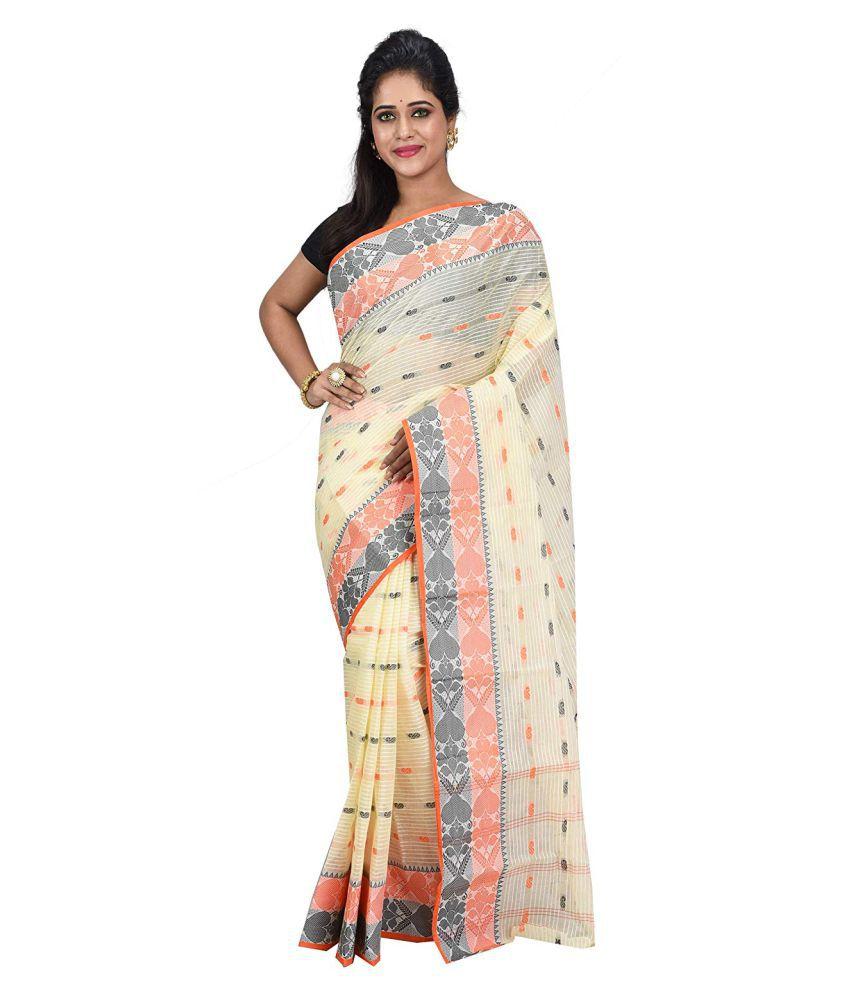 Desh Bidesh Grey,Orange Bengal cotton Saree