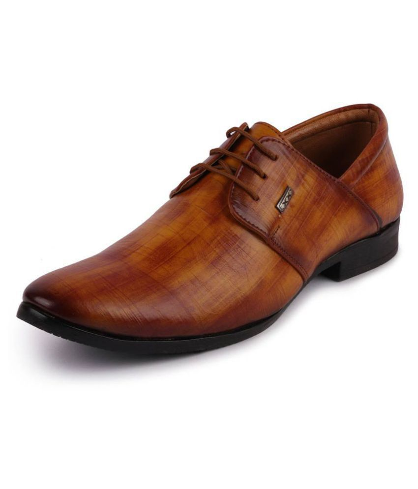 Fausto Oxfords Artificial Leather Tan Formal Shoes