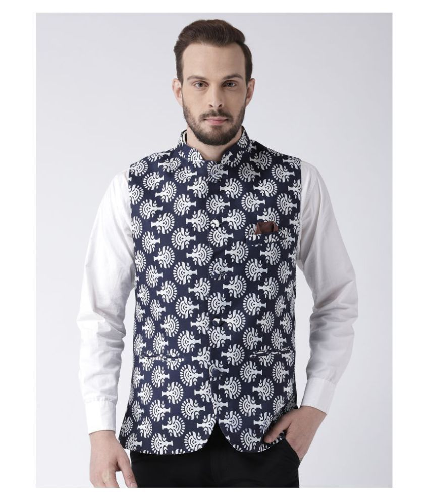 Hangup Multi Cotton Blend Nehru Jacket